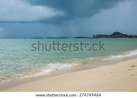 Before the rain in the sea - stock photo