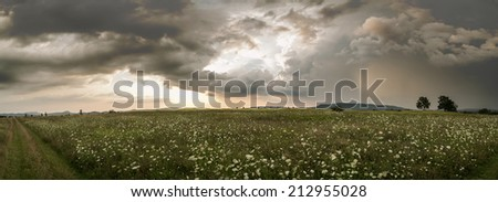 Before the storm,panorama photo with field and horizon - stock photo