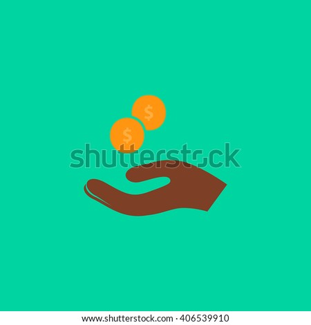 beggar Flat icon on color background. Simple colorful pictogram - stock photo