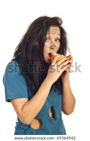 Beggar girl eating a peice of bread isolated on white background