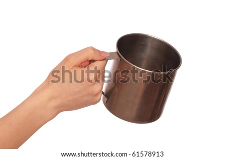 beggar woman with a metal cup asking the money - stock photo