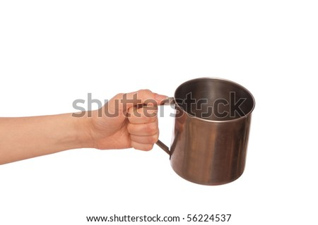 beggar woman with a metall cup asking the money - stock photo