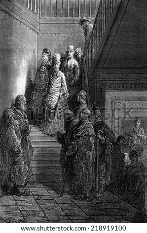 Beggars in the staircase of Fonda, vintage engraved illustration. Le Tour du Monde, Travel Journal, (1872).