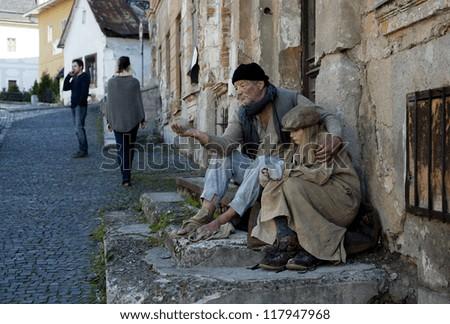 Beggars on the street - stock photo