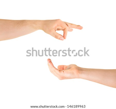 Begging for alms help caucasian hand gesture composition isolated over white background