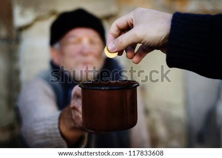 Begging hands - stock photo