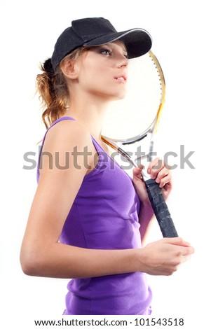 Beginner tennis player. - stock photo
