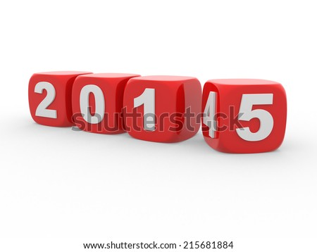 Beginning new year 2015 - 3d render  - stock photo