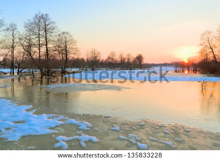 Beginning of spring flood of the river Sukhodrev, Kaluga region, Russia - stock photo