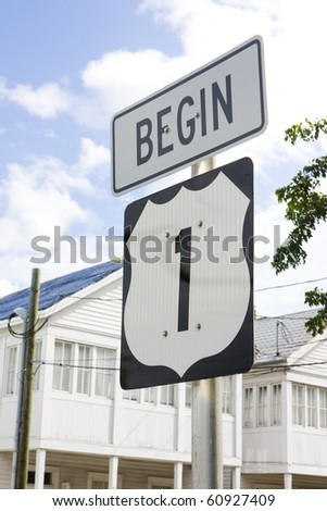 beginning of the road number 1, Key West, Florida, USA - stock photo