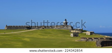 Begun in 1539, El Morro is located in Old San Juan, Puerto Rico.  All along the walls are dome-covered sentry boxes known as garitas, which have become the cultural symbol of Puerto Rico.   - stock photo