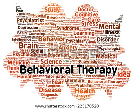 Behavioral therapy word cloud shape concept - stock photo