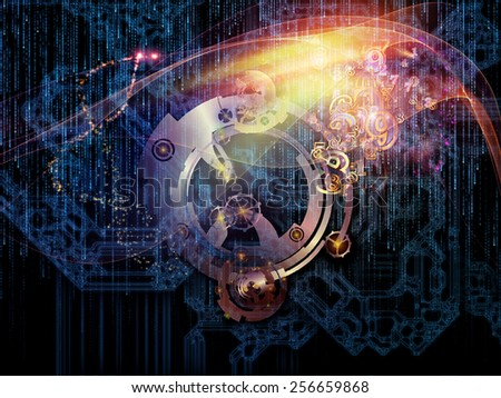 Behind Reality series. Arrangement of gears, fractal forms, lights and numbers on the subject of reality, philosophy, metaphysics and modern technology - stock photo
