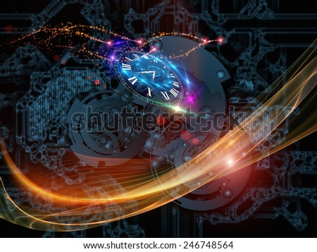 Behind Reality series. Artistic background made of gears, fractal forms, lights and numbers for use with projects on reality, philosophy, metaphysics and modern technology - stock photo