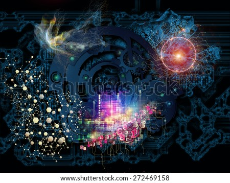 Behind Reality series. Creative arrangement of gears, fractal forms, lights and numbers as a concept metaphor on subject of reality, philosophy, metaphysics and modern technology