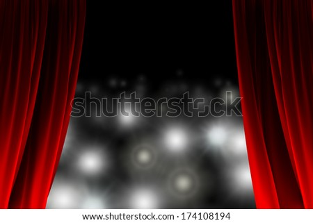 Behind the curtain watching a crowd of photographers - stock photo