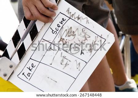 behind the scene, film crew production set  - stock photo