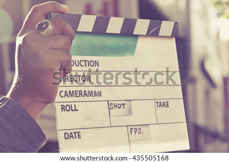 behind the scene, Film Slate on set - stock photo