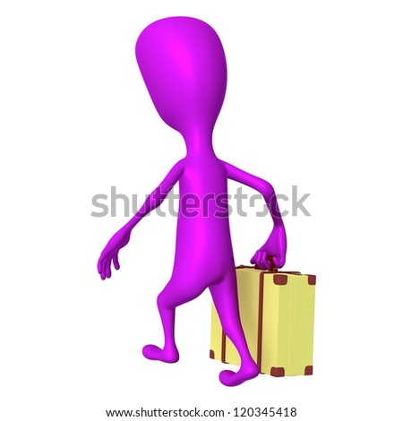Behind view puppet going on trip with case - stock photo