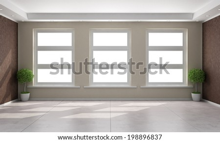 Beige and brown room with three windows - rendering