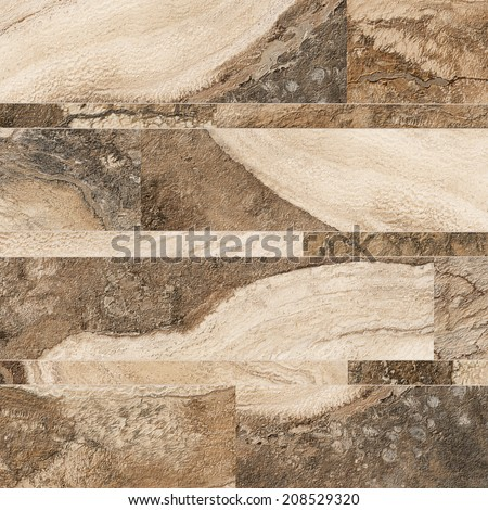 Beige and brown stone tiles, Abstract Background Closeup - stock photo