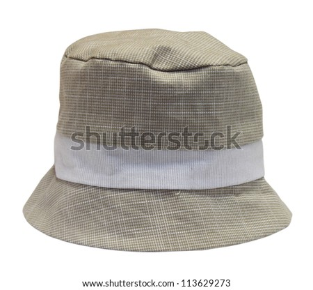 beige baby panama hat on a white background
