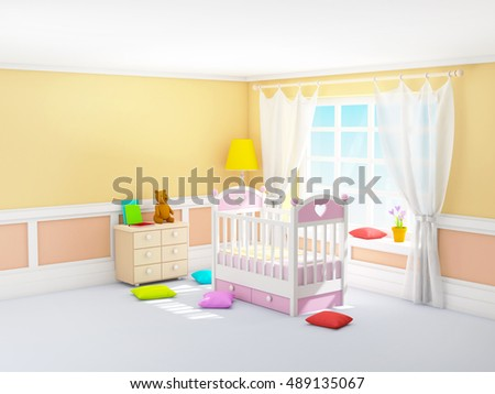 Beige baby's bedroom with crib, in classic style. 3d illustration.