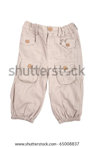 Beige baby trousers isolated on white - stock photo