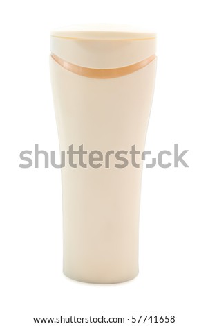 Beige bottle isolated on a white background - stock photo