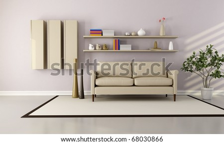 beige brown and white  modern living room - rendering - stock photo
