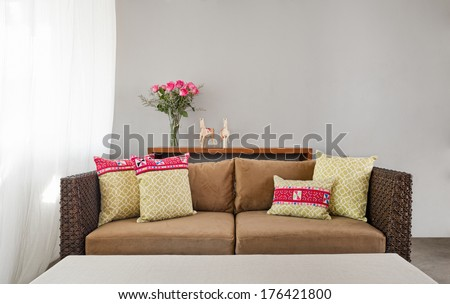 Beige brown sofa in luxurious interior setting  - stock photo