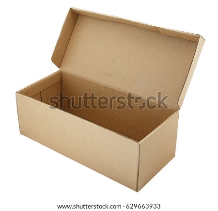 Beige cardboard box for footwear on white