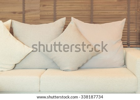 Beige color sofa set in the living room