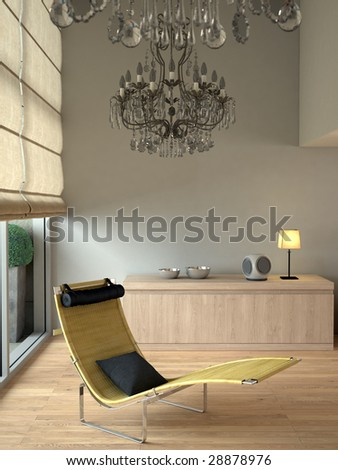 Beige contemporary modern interior with chaise and chandeliers (3D render)
