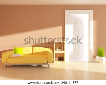 Beige 3d interior of a living room with a yellow sofa