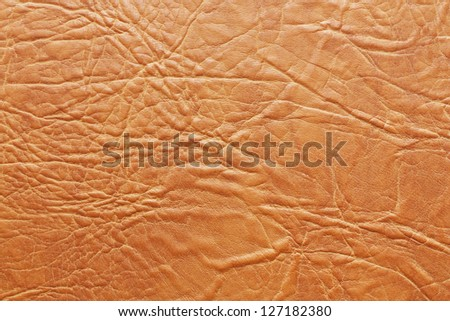 Beige decorative artificial leather texture with folds horisontal - stock photo