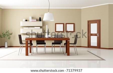 beige dining room with wooden table and door - rendering - stock photo