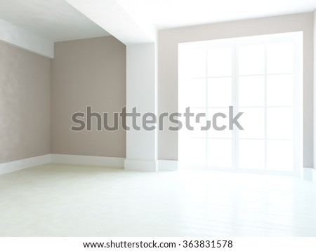 beige empty interior. 3d illustration - stock photo