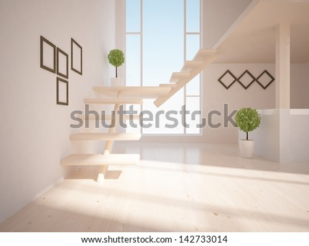 beige empty interior with stairs - stock photo
