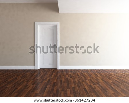 beige empty wall. 3d illustration - stock photo