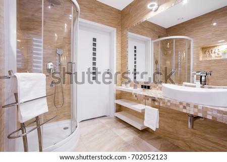 Beige Fancy Bathroom Shower Sandstone Tiles Stock Photo (Royalty ...