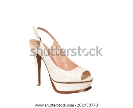 Beige female shoes with high heels
