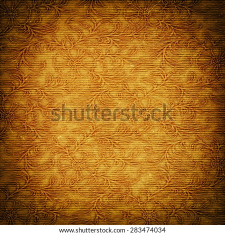 beige floral grunge textured paper, background texture for your message - stock photo