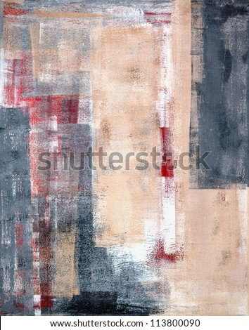 Beige, Grey and Red Abstract Art Painting - stock photo
