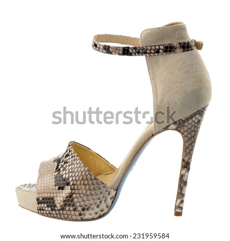 Beige high heel women shoe isolated on white background.  - stock photo