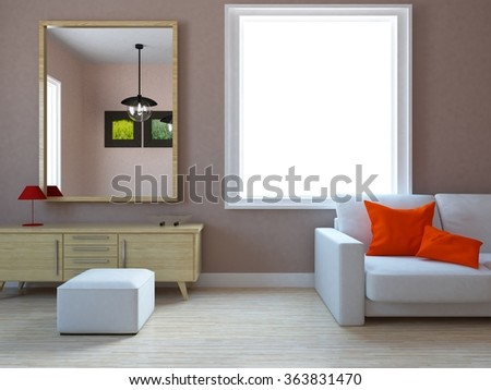 beige interior. 3d illustration - stock photo