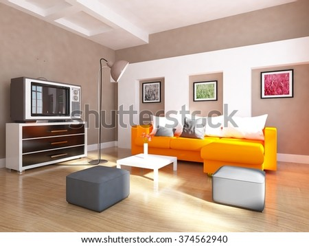 beige interior of a living room/ 3d illustration - stock photo