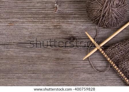 beige knitting and wool yarn - stock photo