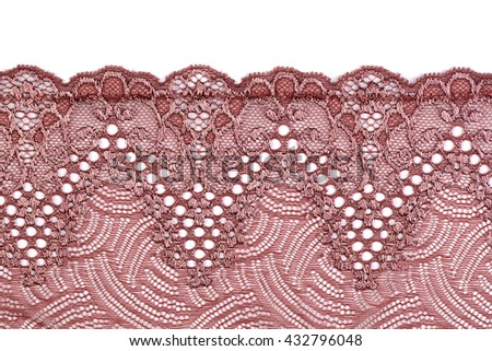 Beige lace. Isolate on white background. - stock photo