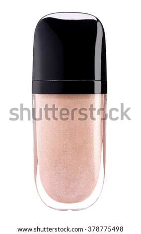 Beige lip gloss tube isolated on white background - stock photo